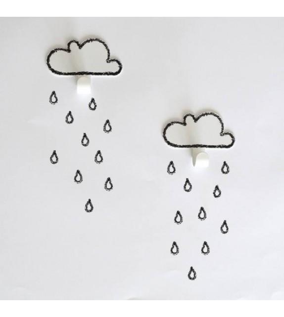 2 pilvenagi + 20 vihmapiisa seinakleebist, must-valge