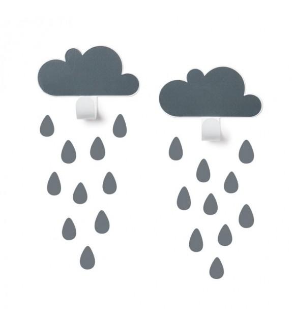 2 pilvenagi + 20 vihmapiisa seinakleebist, tumehall